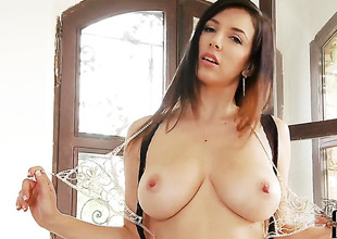 Jelena Jensen upon distinguished breast and bald pussy fucking herself like ridiculous in solo scene