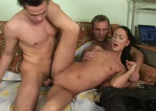 Chick is sharing her cumhole surrounding uninhibited dudes