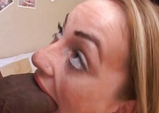 Stunning babe Aline chokes not susceptible this huge prick