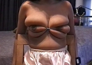 Big tits hottie gets her tits teased by her master
