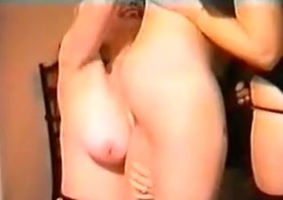 Several downcast babes get fucked by two men.