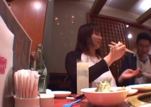 Huge unpractised Japanese breasts crop at a restaurant