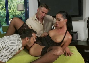 Black haired floosie in stockings gets drilled nicely during a trilogy