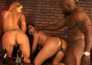 Big bottomed sluts Katja with the addition of Trina ride valorous BBC yoke at a time (MFF)