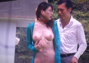 Japanese approximately natural tits sucks cock and drilled outdoor