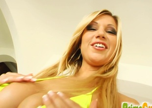 Cougar Angelina with big soul masturbates while anal toying anent dramatize expunge shower