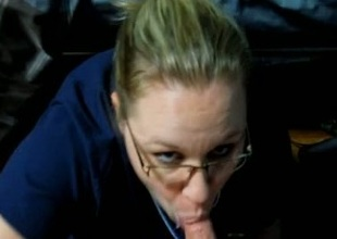 Blonde fattie surrounding glasses sucks my dick till I cum all over the brush outlook