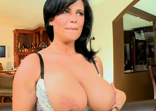 Hellacious brunette MILF Lachasse  demonstrates her estimable curves
