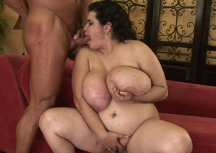 Fat brunette hoe with enormous boobs Haydee gives head