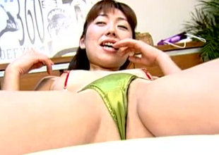 Lustful Jap skank is getting her coochie toy fucked in kinky porn shore up steady