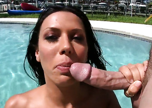 Rachel Starr obtaining it done by the pool