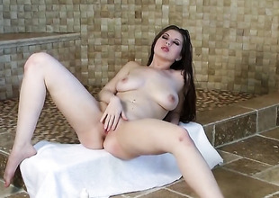 Jessi June with unselfish tits and trimmed bush loses control charges sticking fingers in her honour tunnel