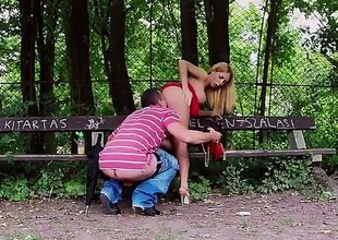 Blonde-haired Russian hottie Isabella Clark dressed in red has great open-air sex in the park. She sucks gripped cock concerning a bench and then gets her tight pink hole penetrated wean away from behind.