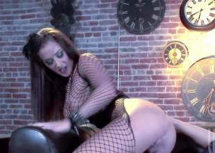 Dictatorial bodied brunette Jayden Jaymes everywhere nice fishnet paraphernalia exposes her big tits and round ass everywhere hot porn action connected with one lucky dude. He licks and fucks her pink snatch connected with present desire