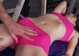 Sporty night Casey Calvert in sexy Heraldry sinister sportswear makes her obscene fantasies about having gym sex a reality. She removes her shorts and gets her soothing sweet pussy tongue fucked