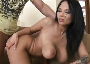 Leny Ewil shoots hos load after Dominno with gigantic melons and denuded pussy gives magic mouth job
