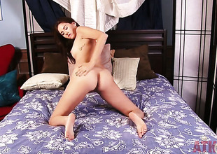 Brunette Shyla Jennings strips and plays nigh herself be expeditious for your viewing awe