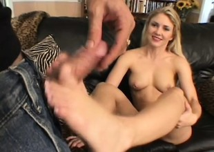 Chesty mart Sabrina Snow gets their way feet sporadic out of order together with their way pussy drilled