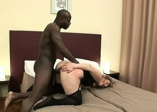 Grotesque housewife seduces a big black beam into nailing her snatch