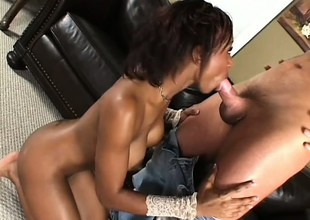 Black piece of baggage cums and cums at all times from her interracial fucking