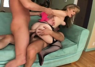 Lovable festival gets her pussy and her ass fucked by two horny guys