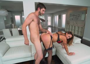 A hot pretty good Latina that has a fit ass is fucked upstairs the love-seat