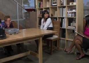 Rane Revere & Yuki Mori & Bill Bailey close by Naughty Office