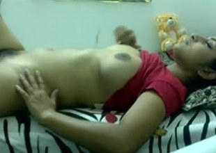 Indian girl sex tape of a hairy battle-axe masturbating hard