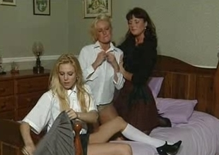 British mother I'd like to fuck plays with regard to some lesbian babes insusceptible to be transferred to daybed