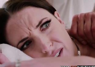 Bosomy brunette Angela White bangs overhead be transferred to massage table