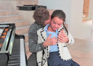 Super cute teen fucked by her horny piano crammer
