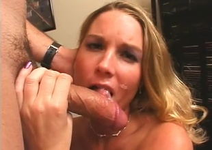 Hot Blonde receives a well-deserved full load on her cute face.