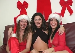 For this segment of 2009's Christmas Special, Kianna wants to fuck Gabby thither a strap-on.  Sarah Moon MC's.  Cut to then-newbie Gabby's tend and show-off moments.  She came shaved in preference to for this, and filmed rolling in money wearing her Santa-girl get-up and a s
