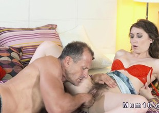 Hairy Milfs pussy licked with the addition of banged in bedroom