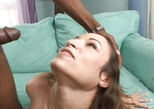Amber Rayne gets the brush face plastered with caring jizz