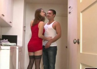 Glamour hottie MILF Nora Noir seduced her stepson and encounters rough sex by his everlasting cock