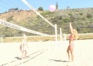 Bikini wearing blonde bitches hook set in place some hot lesbian sex