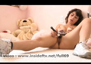 Gloomy _ Lay pubescent brunette masturbating there a unafraid vibrator