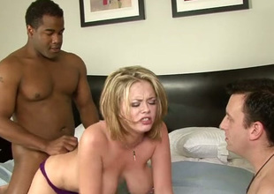 Submissive cuckold dude watches surprising dominate peaches fucking wide funereal buddy
