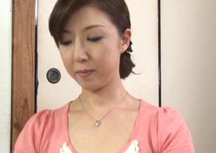 Masturbating Japanese brunette in bra masturbates increased by drilled hardcore