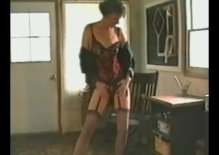 Lustful cougar in stockings coupled with undergarments fondling their way tits before masturbating literally shoot