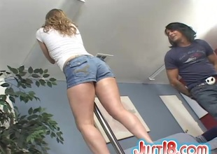 Charming cowgirl with a nice up to the arse in a thong gives a deepthroat blowjob jibe getting throbbed doggy publicize