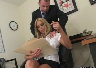 Fucking his slutty blonde coworker on a chifferobe feels great