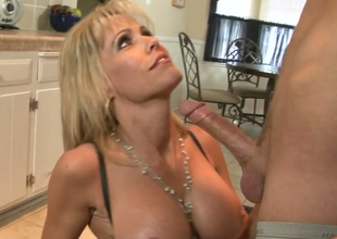 Nasty mommy with obese boobs Jordan Lynn banged hard almost along to kitchen