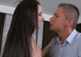 Charming brunette bae sucking dick like graceful lollipop