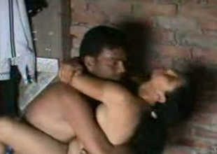 Cute Indian housewife gives handjob to their way husband