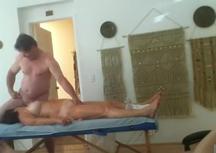 Threesome massage party. 2 old ladies take turns obtaining fucked.