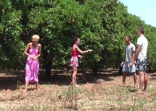 Margo & Aspen & Jocelyn less hot babe gives head less an outdoor sex scene