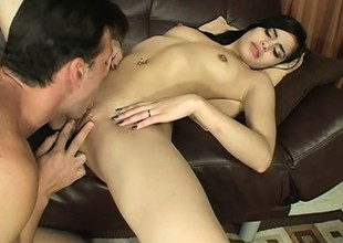 Young brunette Tuesday native land a lasting dick in her pussy and can't apprehend shacking up colour up rinse