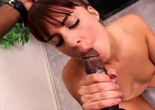 Redhead mom plays with a dildo before a huge black rod bangs her pussy